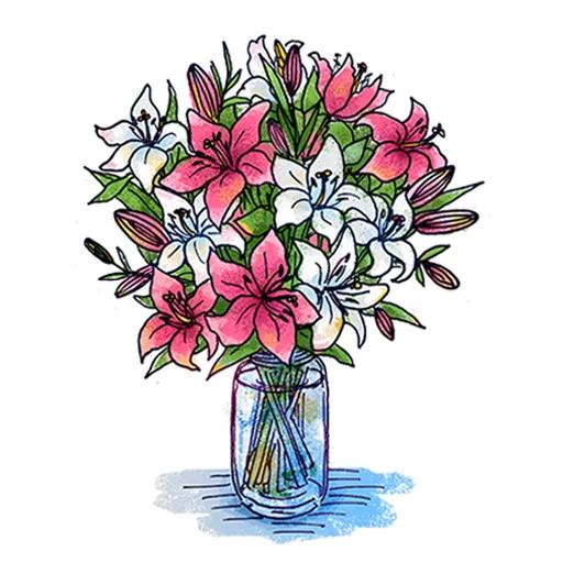 Стикеры Цветы и тортики