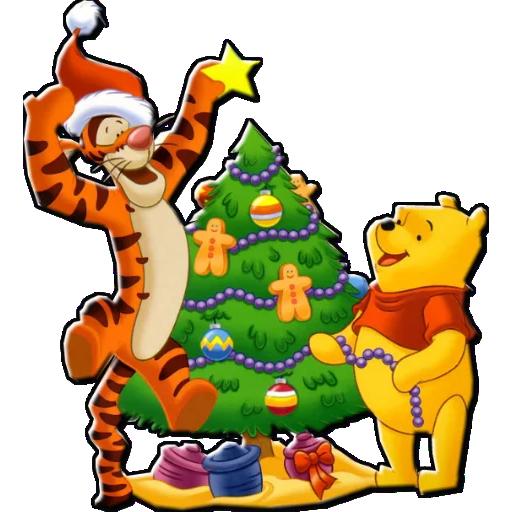 Стикеры Новогодний Винни Пух и его друзья